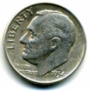 1954 D ROOSEVELT DIME SILVER 10 CENT SHARP ABOVE AVERAGE DETAIL NICE COIN4325