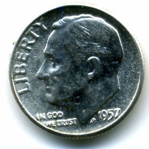 1957 P ROOSEVELT DIME SILVER 10 CENT SHARP ABOVE AVERAGE DETAIL NICE COIN1176
