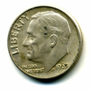 1963 D ROOSEVELT DIME SILVER 10 CENT SHARP ABOVE AVERAGE DETAIL NICE COIN393
