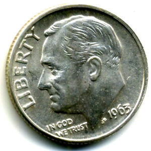 1963 D ROOSEVELT DIME SILVER 10 CENT SHARP ABOVE AVERAGE KEY DATE US COIN 14238
