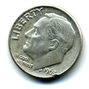 1963 D ROOSEVELT DIME SILVER 10 CENT SHARP ABOVE AVERAGE DETAIL NICE COIN403