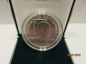 1990 US EISENHOWER CENTENNIAL SILVER COIN NEW IN BOX