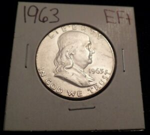 473 LY FINE PLUS FRANKLIN SILVER HALF DOLLAR 1963 P EF XF