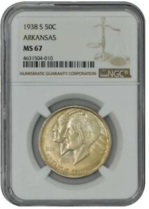 Click now to see the BUY IT NOW Price! 1938 S ARKANSAS 50C MS67 NGC 942515 3