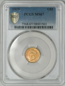 1869 $ GOLD INDIAN DOLLAR MS67 SECURE PLUS PCGS 941972 13