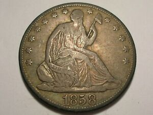 1858 O SEATED LIBERTY HALF DOLLAR  CHOICE FINE CRACK/CUD ON REV. & ATTRACTIVE