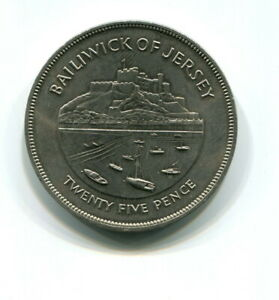 1977 BAILIWICK OF JERSEY 25P CROWN COIN