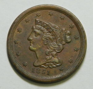 1851 HALF CENT UNC BROWN