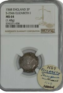 Click now to see the BUY IT NOW Price! 1568 ENGLAND 3P S 2566 ELIZABETH I MS64 NGC 942436 2