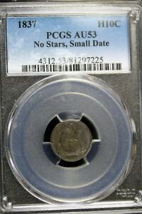 1837   PCGS AU53 NO STARS SMALL DATE SEATED LIBERTY HALF DIME    HD0211