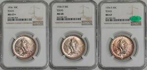 Click now to see the BUY IT NOW Price! 1936 P D S TEXAS 50C MATCHED CONSECUTIVE NUMBERED SET 941467 3 MS67 68 NGC