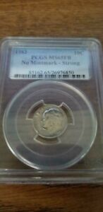 1982 ROOSEVELT DIME NO MINTMARK   STRONG WITH FULL BANDS ERROR PCGS MS65FB