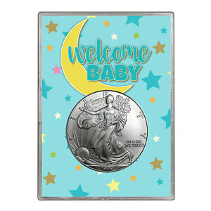 1999 $1 AMERICAN SILVER EAGLE GIFT HOLDER   WELCOME BABY BLUE DESIGN
