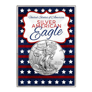 2010 $1 AMERICAN SILVER EAGLE GIFT HOLDER  STARS AND STRIPES DESIGN