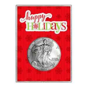 2000 $1 AMERICAN SILVER EAGLE GIFT HOLDER  HAPPY HOLIDAYS DESIGN