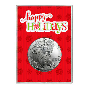 1999 $1 AMERICAN SILVER EAGLE GIFT HOLDER  HAPPY HOLIDAYS DESIGN