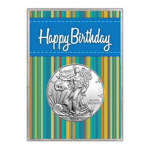 2014 $1 AMERICAN SILVER EAGLE GIFT HOLDER  HAPPY BIRTHDAY BLUE DESIGN