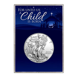 2014 $1 AMERICAN SILVER EAGLE GIFT HOLDER  CHRISTMAS NATIVITY DESIGN