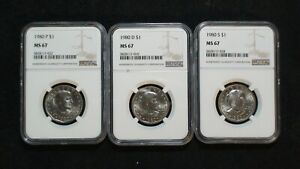 THREE 1980 P D & S SUSAN B ANTHONY NGC MS67 GEM UNC $1 COINS PRICED TO SELL