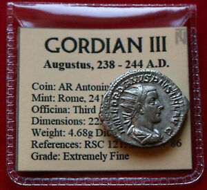 Click now to see the BUY IT NOW Price! GENUINE EF ROMAN COIN 243AD GORDIAN III SILVER ANTONINIANUS LAETITIA ROME