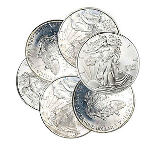 1995 1999 $1 AMERICAN SILVER EAGLE IMPERFECT   TONED SPOTS ETC ONE COIN RANDOM