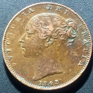 OLD FOREIGN WORLD COIN: 1843 GREAT BRITAIN FARTHING VICTORIA