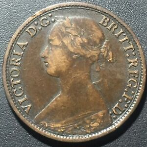 OLD FOREIGN WORLD COIN: 1864 GREAT BRITAIN FARTHING VICTORIA