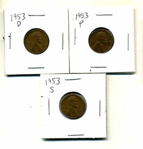 1953 P D S WHEAT PENNIES LINCOLN CENTS CIRCULATED 2X2 FLIPS 3 COIN PDS SET3913