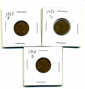 1942 P D S WHEAT PENNIES LINCOLN CENTS CIRCULATED 2X2 FLIPS 3 COIN PDS SET3202