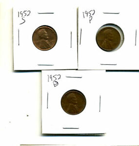 1952 P D S WHEAT PENNIES LINCOLN CENTS CIRCULATED 2X2 FLIPS 3 COIN PDS SET432