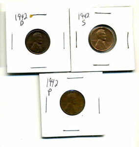 1942 P D S WHEAT PENNIES LINCOLN CENTS CIRCULATED 2X2 FLIPS 3 COIN PDS SET3165
