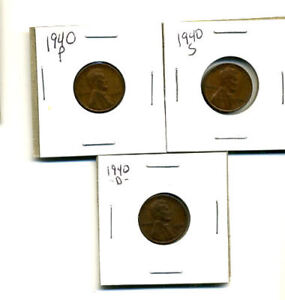 1940 P D S WHEAT PENNIES LINCOLN CENTS CIRCULATED 2X2 FLIPS 3 COIN PDS SET804