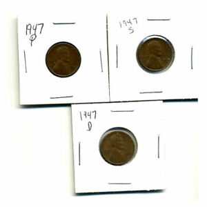 1947 P D S WHEAT PENNIES LINCOLN CENTS CIRCULATED 2X2 FLIPS 3 COIN PDS SET3107