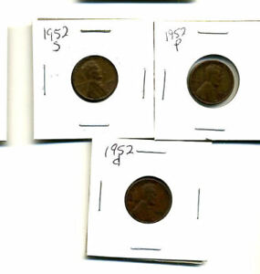 1952 P D S WHEAT PENNIES LINCOLN CENTS CIRCULATED 2X2 FLIPS 3 COIN PDS SET457