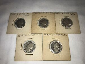 1961 1962 ERROR JEFFERSON NICKEL LOT OF 5 1