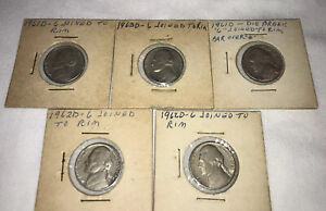 1961 1963 ERROR JEFFERSON NICKEL LOT OF 5 3