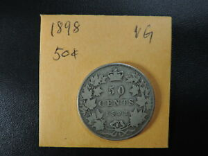 1898 50 CENT COIN CANADA VICTORIA FIFTY CENTS .925 SILVER VG GRADE