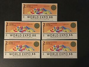 PAPER NONEY WORLD EXPO 88 5X2 AND 5 X 5 EXPO DOLLARS