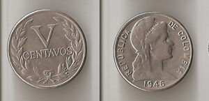 COLOMBIA 5 CENTAVOS 1946 SMALL DATE