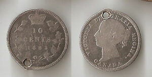 CANADA 10 CENTS  1882 H HOLED