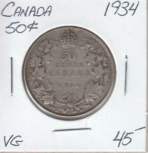 CANADA 50 CENTS 1934   VG