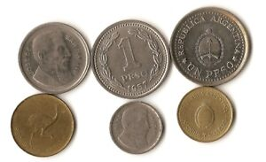 LOT OF SIX COINS FROM ARGENTINA 1 5 10 AND 50 CENTAVOS 1 PESO DATED 1954