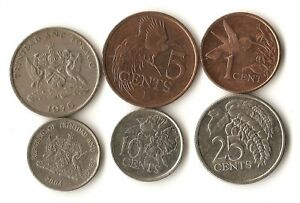 SIX COINS FROM TRINIDAD AND TOBAGO 1 5 10 AND 25 CENTS 1976   2014