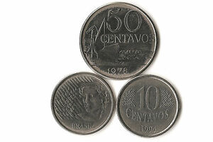 BRAZIL COIN LOT  50 AND 10 CENTAVOS DATED 1978  1996 THREE COIN LOT
