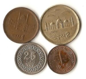 FOUR COINS FROM PAKISTAN 1 AND 25 PAISA 1 AND 2 RUPEES 1962  2004