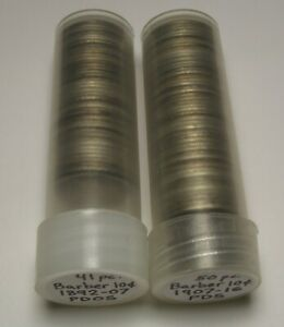 LOT OF 91 BARBER DIMES GOOD VF 1892 1916 PDOS W/BETTER DATES IN ROLLS 90  SILVER