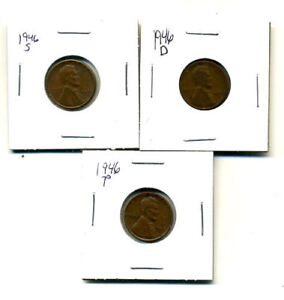 1946 P D S WHEAT PENNIES LINCOLN CENTS CIRCULATED 2X2 FLIPS 3 COIN PDS SET1379
