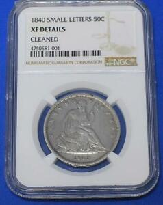 1840 HALF DOLLAR COIN   SEATED LIBERTY   NGC   XF / CLEANED