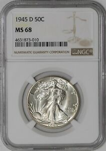 Click now to see the BUY IT NOW Price! 1945 D WALKING LIBERTY HALF 50C MS68 NGC 941584 12
