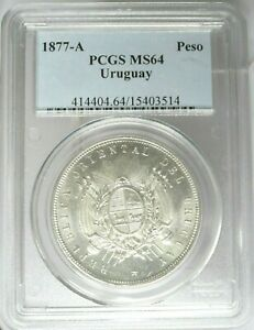 Click now to see the BUY IT NOW Price! 1877 A URUGUAY  PESO  PCGS MS 64